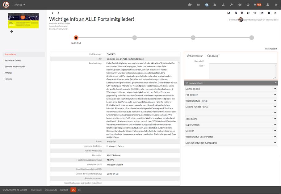 Obsolescence Management Portal Detail